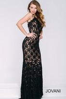 Jovani High Neck Long Lace Dress 41269