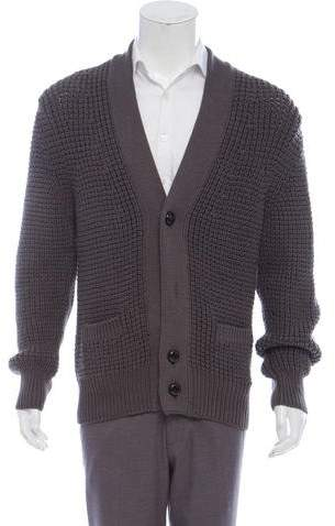 Tom Ford Merino Wool Suede-Accented Cardigan