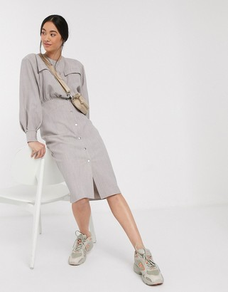 ASOS DESIGN premium casual textured popper midi shirt dress in grey