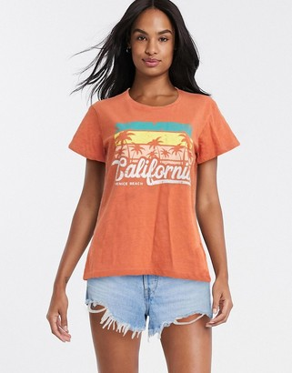 Blend She California motif t-shirt in orange