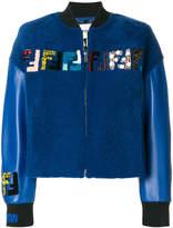 Fendi logo shearling bomber jacket