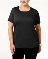 Karen Scott Plus Size Cotton Scoop-Neck T-Shirt, Created for Macy's
