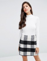 Lipsy Michelle Keegan Loves 2 in 1 Dress with Check Skirt