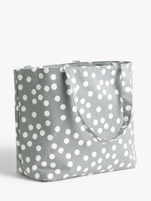 John Lewis & Partners Spot Print Toggle Craft Bag, Grey