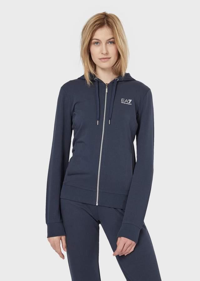 f9f08b5dcc Ea7 Full-Zip, Stretch Cotton Sweatshirt With Hood