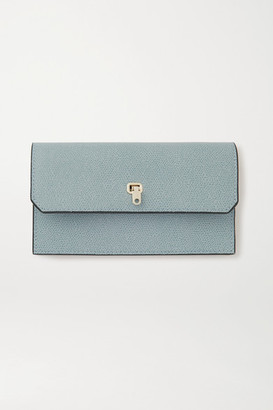Valextra Brera Textured-leather Wallet And Cardholder Set - Blue