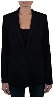 Majestic Filatures French Terry One Button Boyfriend Blazer (Blanc) Women's Clothing