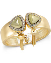 Thalia Sodi Gold-Tone Glass Stone and Tassel Hinged Bangle Bracelet, Only at Macy's