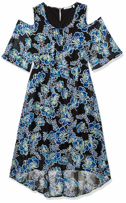 Notations Women's Elbow Sleeve Cold Shoulder Printed Maxi Dress