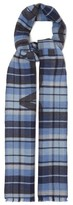 Acne Studios Victoria Logo-jacquard Checked Wool Scarf - Womens - Blue