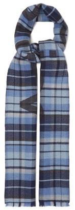 Acne Studios Victoria Logo-jacquard Checked Wool Scarf - Womens - Blue