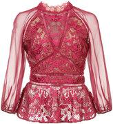 Marchesa lace detail peplum blouse