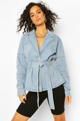 boohoo Denim Belted Blazer Jacket