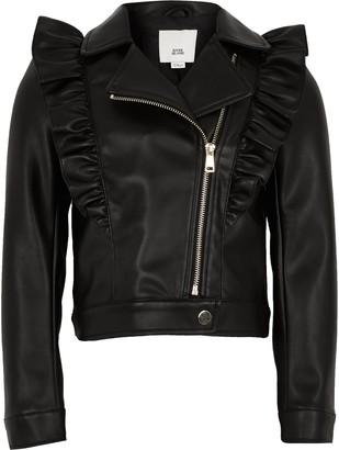 River Island Girls Black frill biker jacket