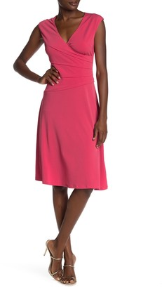 London Times Side Tuck Fit & Flair Dress