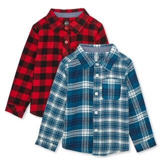 Wonder Nation Toddler Boys Plaid Flannel Button Up Shirt, 2-Pack