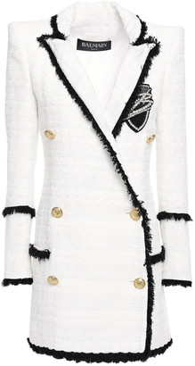 Balmain Double-breasted Embellished Tweed Blazer