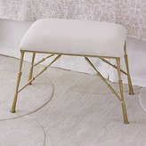 The Well Appointed House Spike Bench in Antique Brass Finish with Muslin Cushion