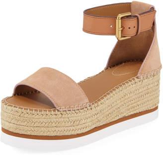 See by Chloe Glyn Suede Ankle-Strap Flatform Espadrilles