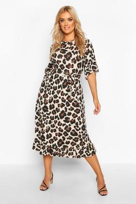 boohoo Plus Leopard Ruffle Tie Waist Midi Smock Dress