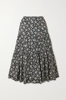 Marc Jacobs Floral-print Cotton-poplin Midi Skirt - Black