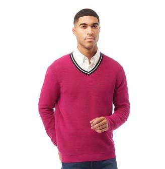 Ted Baker Mens Delota Golf Knitted V Neck Jumper Bright Pink