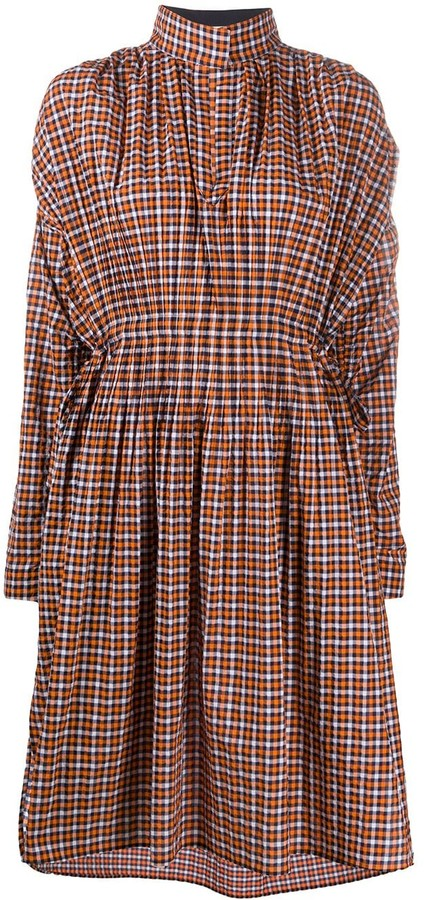 Cédric Charlier High-Neck Checked Dress