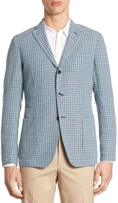 Saks Fifth Avenue COLLECTION Slim-Fit Hatch Stitch Plaid Sport Coat