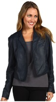 Kenneth Cole New York - Exposed Zipper Leather Jacket (Navy Seal) - Apparel