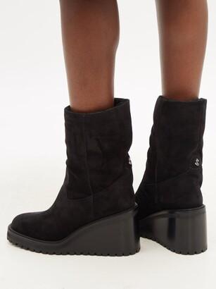 Jimmy Choo Yola 80 Suede Boots - Black