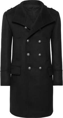Balmain Slim-Fit Double-Breasted Cashmere Coat - Men - Black