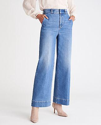Ann Taylor Sculpting Pocket Trouser High Rise Jeans in Medium Vintage Indigo Wash