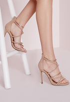 Missguided Knot Front Heeled Sandals Rose Gold
