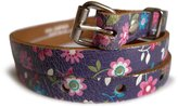 LissKiss Colourful Daisies On Real Leather Rustic Look Women Belt - Belt