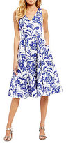 Adrianna Papell V-Neck Printed Fit & Flare Dress