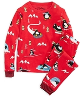 PJ Salvage Girls' Penguin Brushed Thermal Pajama Set - Little Kid