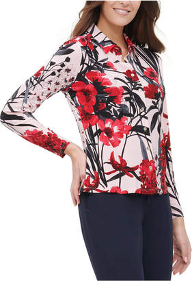 Tommy Hilfiger Floral Button-Up Collared Blouse