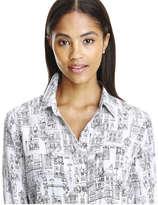 Joe Fresh Women's Print Silk Blouse, Off White (Size M)