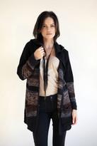 Goddis Sloane Hooded Fringe Knit Jacket In Blackberry Wine