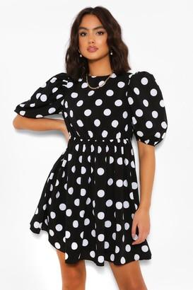 boohoo Polka Dot Puff Sleeve Smock Dress