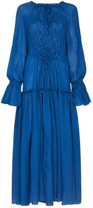 Masterpeace Ruffled Long-Sleeve Maxi Dress