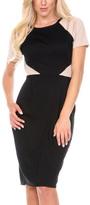 Stanzino Khaki Color Block Short-Sleeve Sheath Dress