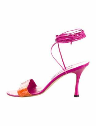 Manolo Blahnik Leather Colorblock Pattern Sandals Pink