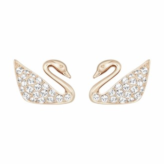 Swarovski Swan Pierced Stud Earrings for Women Brilliant White Crystals with Rose-Gold Tone Plating from the Swan Collection