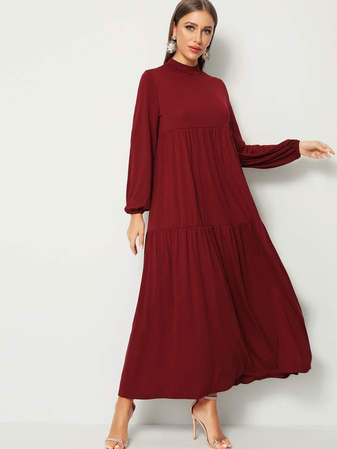 Shein Solid Mock-neck Flowy Maxi Hijab Dress