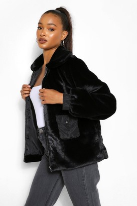 boohoo Pocket Detail Faux Fur Jacket
