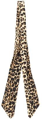 Saint Laurent Leopard Print Skinny Scarf
