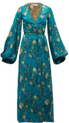 Adriana Iglesias Floral-printed Silk-blend Wrap Dress - Blue Multi
