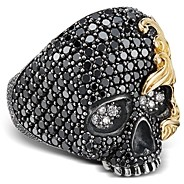 David Yurman Sterling Silver & 18K Yellow Gold Waves Skull Ring with Black & White Diamonds