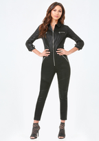 Bebe Coated Moto Jumpsuit